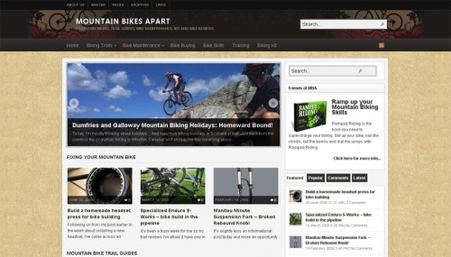 Mountain Bikes Apart community web design screenshot