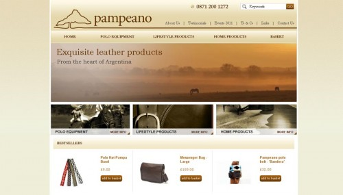 Screenshot of Pampeano ecommerce website