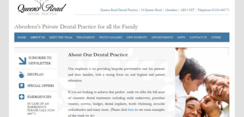 Queens Road Dental Practice – Content Management, WordPress Templating